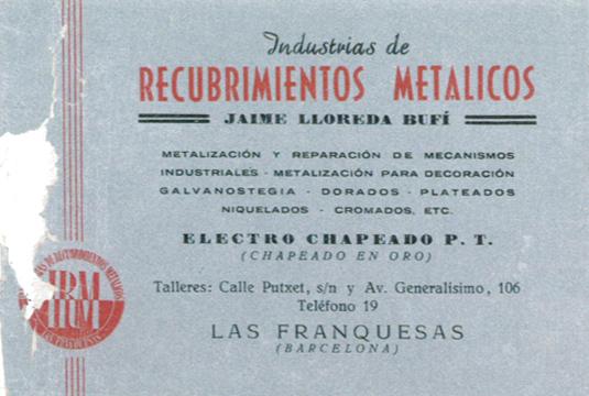 Una de las primeras tarjetas comerciales de IRM Lloreda